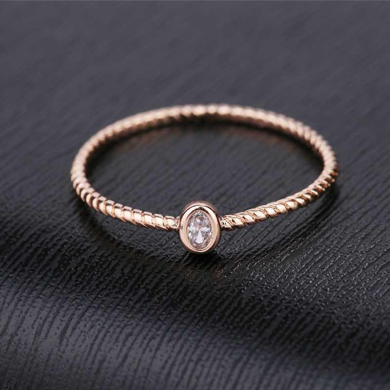 MIGGA mince Style unique ovale cubique Zircon anneau pour les femmes couleur or Rose CZ pierre Bague bijoux
