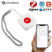 Tuya botão zigbee sos sensor de alarme, para idosos, alarme, à prova d' água, botão de pânico de emergência