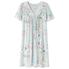 Casual New Women Ladies Green Women V Neck Sleep Dress Home Dress Nightwear Night Gown Floral Sleep Shirt Long Shirt Elegant