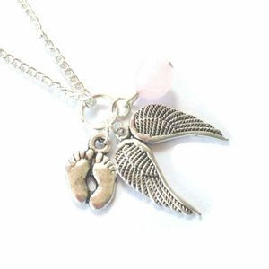 My Babies Feet Are Under An Angels Wings Necklace Natural stone Vintage Silver Miscarriage Baby Loss Jewelry Friendship Gift(China)