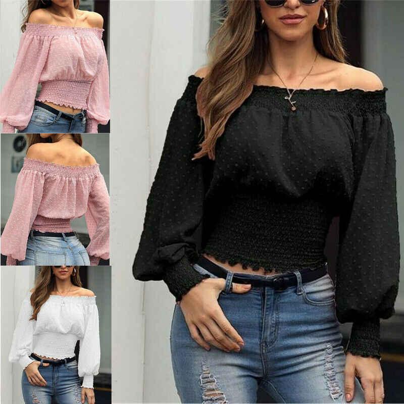 Fashion Women Bardot Off Shoulder Tops Ladies Summer Casual Loose T Shirt Blouse