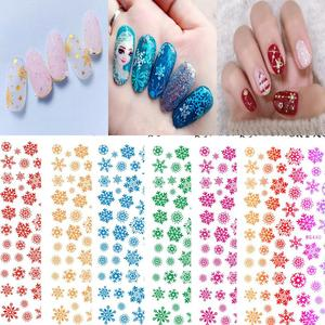 Image 1 - Hanyi Xmas Sneeuw 1 Vel HANYI 66 101 Prinses 3d Nail Art Stickers Decal Template Diy Nail Tool Decoraties