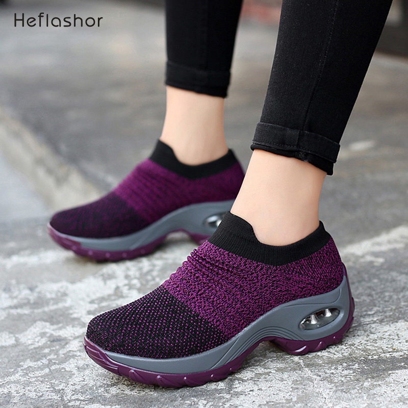 HEFLASHOR New 2019 Summer Women Sneakers Fashion Breathable Mesh Casual Shoes Platform Sneakers For Women Black Sock Sneakers