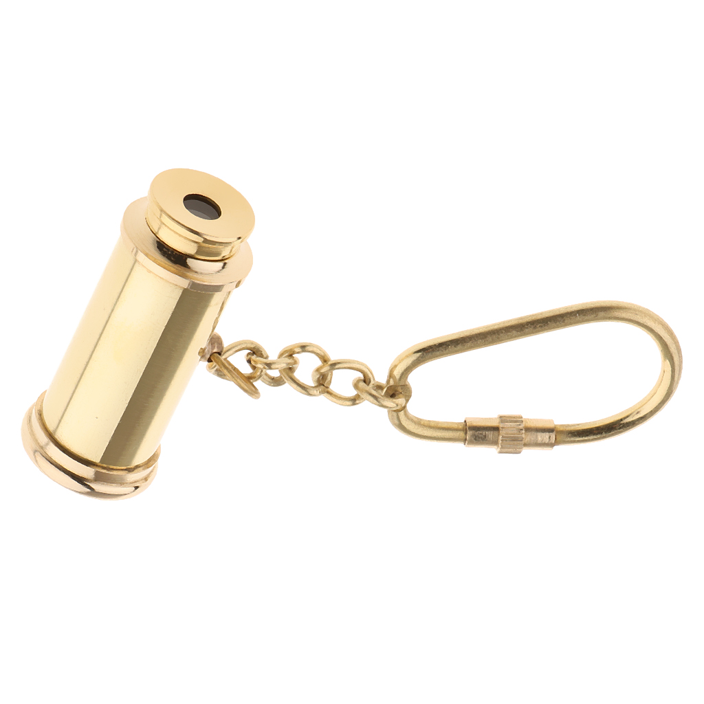 Brass Collapsible Pirate WORKING Telescope SPYGLASS Charm Carabiner Keychain