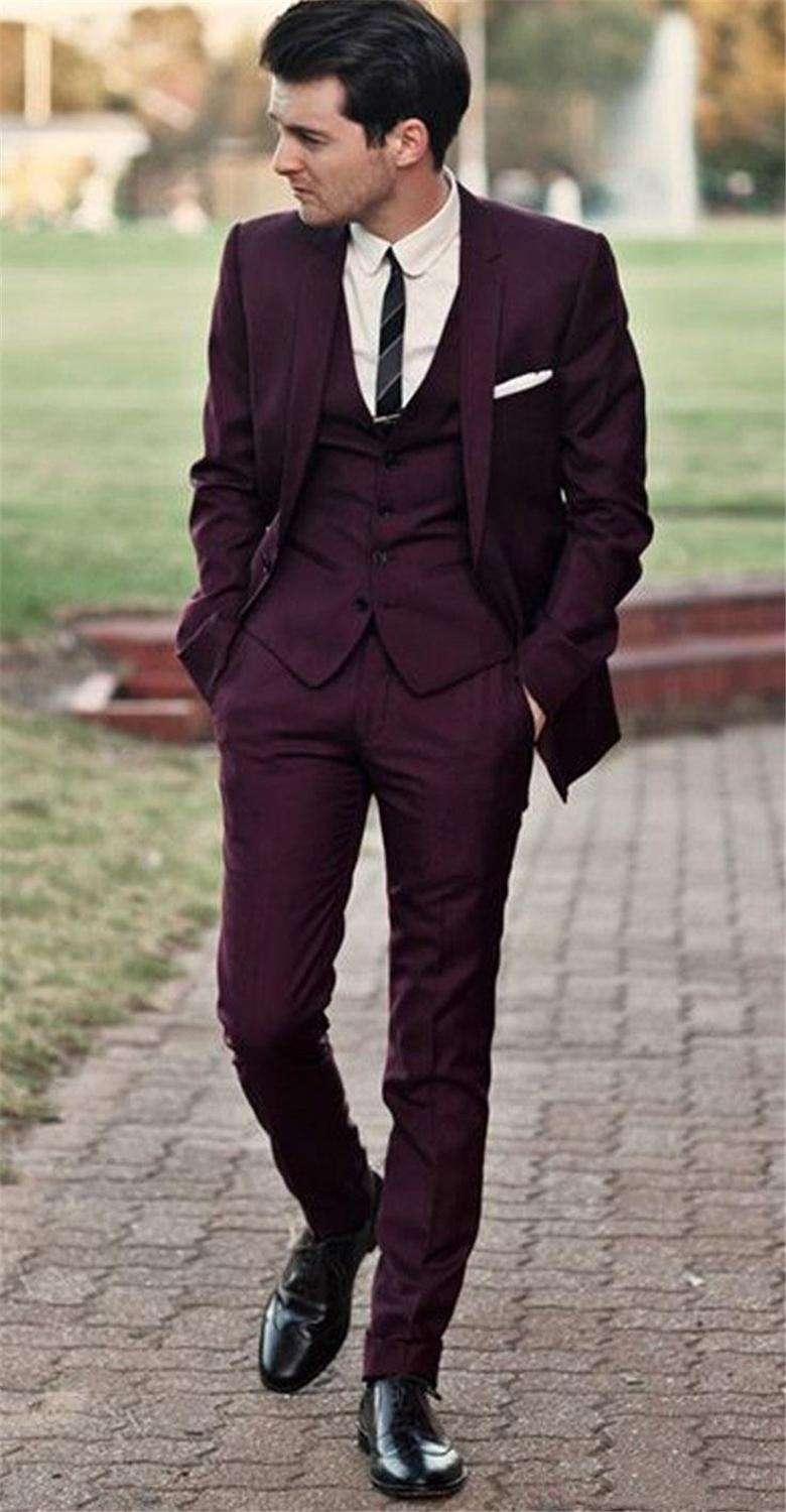 Handsome Burgundy Grooms Wedding Tuxedos Slim Fitted Suits For Men Classic Suit Three Pieces (Jacket+Pants+Vest)