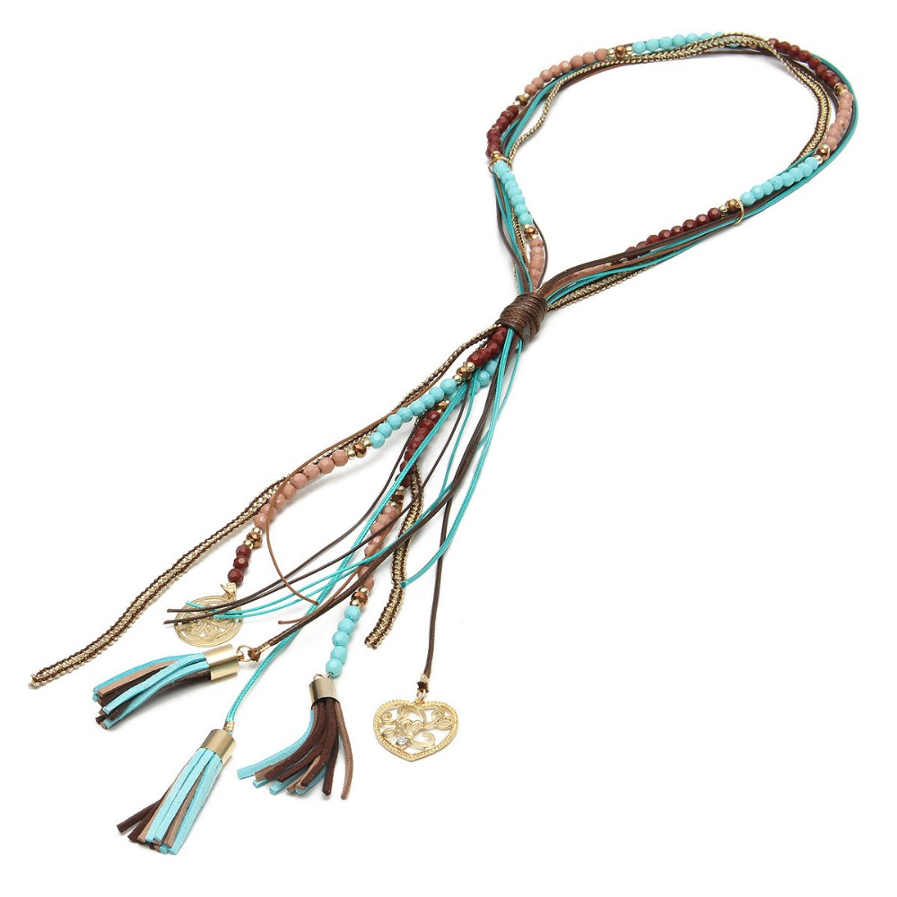 New Fashion 2019 Women Pendant Necklace Bohemian Vintage Ethnic Style Long Tassel Leather Rope Collar Necklace - New Fashion Women Pendant Necklace Bohemian Vintage Ethnic Style Long Tassel Leather Rope Collar Necklace