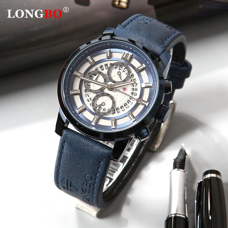 LONGBO Mens Watches Top Brand Luxury Chronograph Men Watch Leather Luxury Waterproof Sport Watch Men Male Clock Man Wristwatch