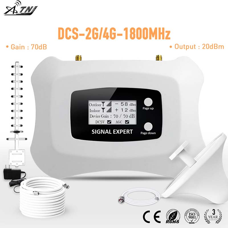Homely and Fashionable signal <font><b>Repeater</b></font> <font><b>2G</b></font> 4G Cell phone Amplifier LCD DCS 1800MHz Mobile Signal Booster with Yagi antenna kit image