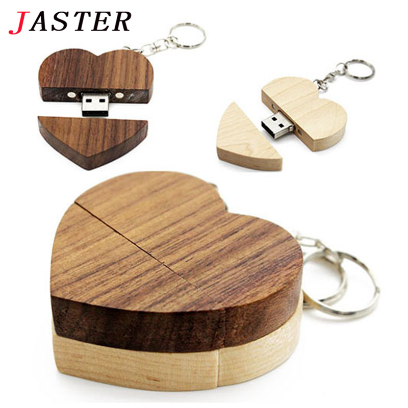 JASTER(over 10 PCS Free LOGO)Wooden Heart Usb Flash Drive Memory Stick Pen Drive 8g 16g  32gb 64GB Wedding Gift Photography Gift