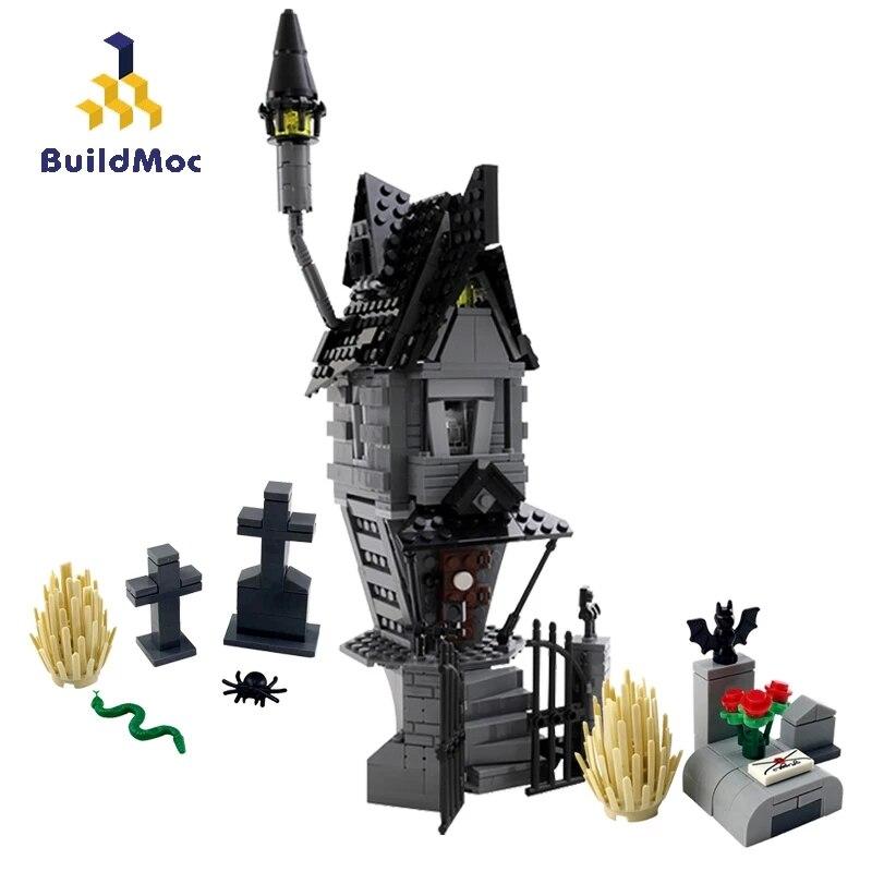 Buildmoc filme jack skellington casa de pesadelo antes do natal blocos de construção criador casa assombrada modelo brinquedos para crianças