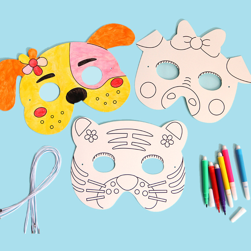 8Pcs DIY Cartoon Animals Painting Masks Color Kindergarten Graffiti Art Creative Drawing Educational Toys For Children Kids Gift