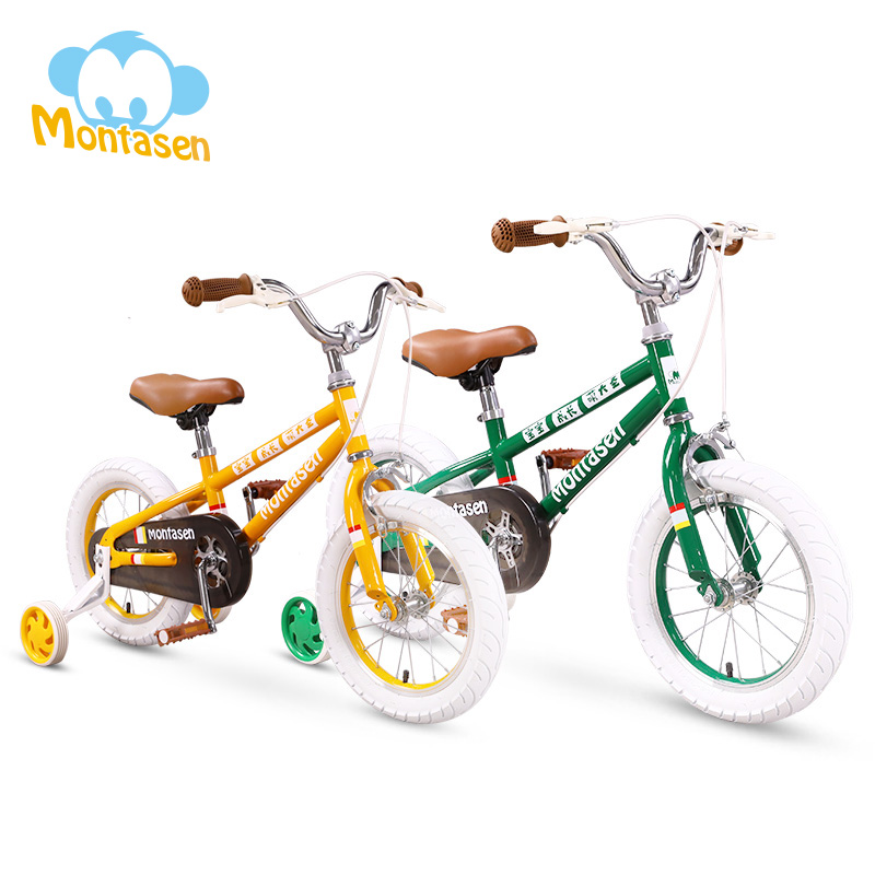 Children Balance Bike Detachable Auxiliary Wheel Cycle 14/16 Inch Kids Bicycle High Carbon Frame Push Bicycle  For 2-7 Years Old