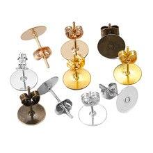 100 pçs/lote 4-10mm bronze ródio kc ouro metal em branco pós brinco pinos base com brinco plug orelha de volta para jóias makings