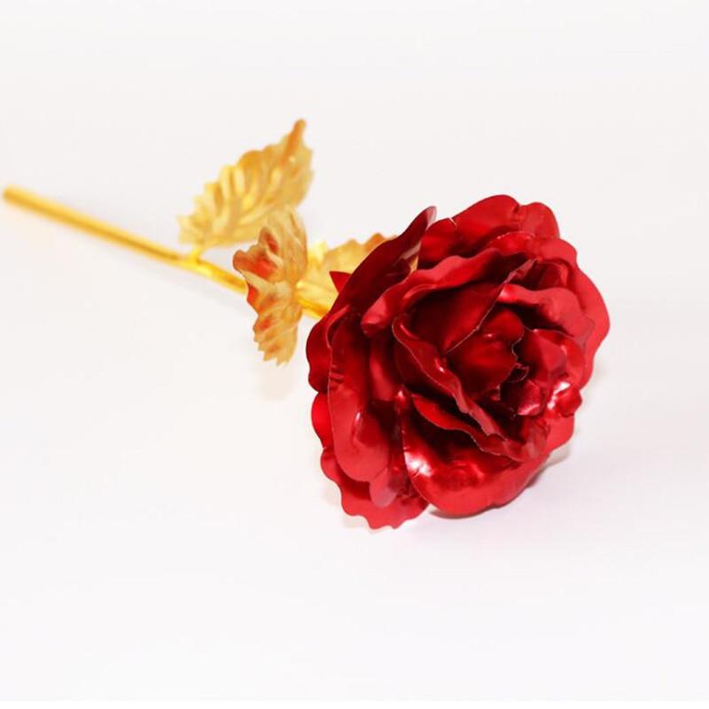 Креативный подарок Роза эмуляция цветок 24 к Золотая фольга Роза подарок на день Святого Валентина одиночный позолоченный букет розы коробка Золотая фольга цветок - Цвет: Only Flower 01