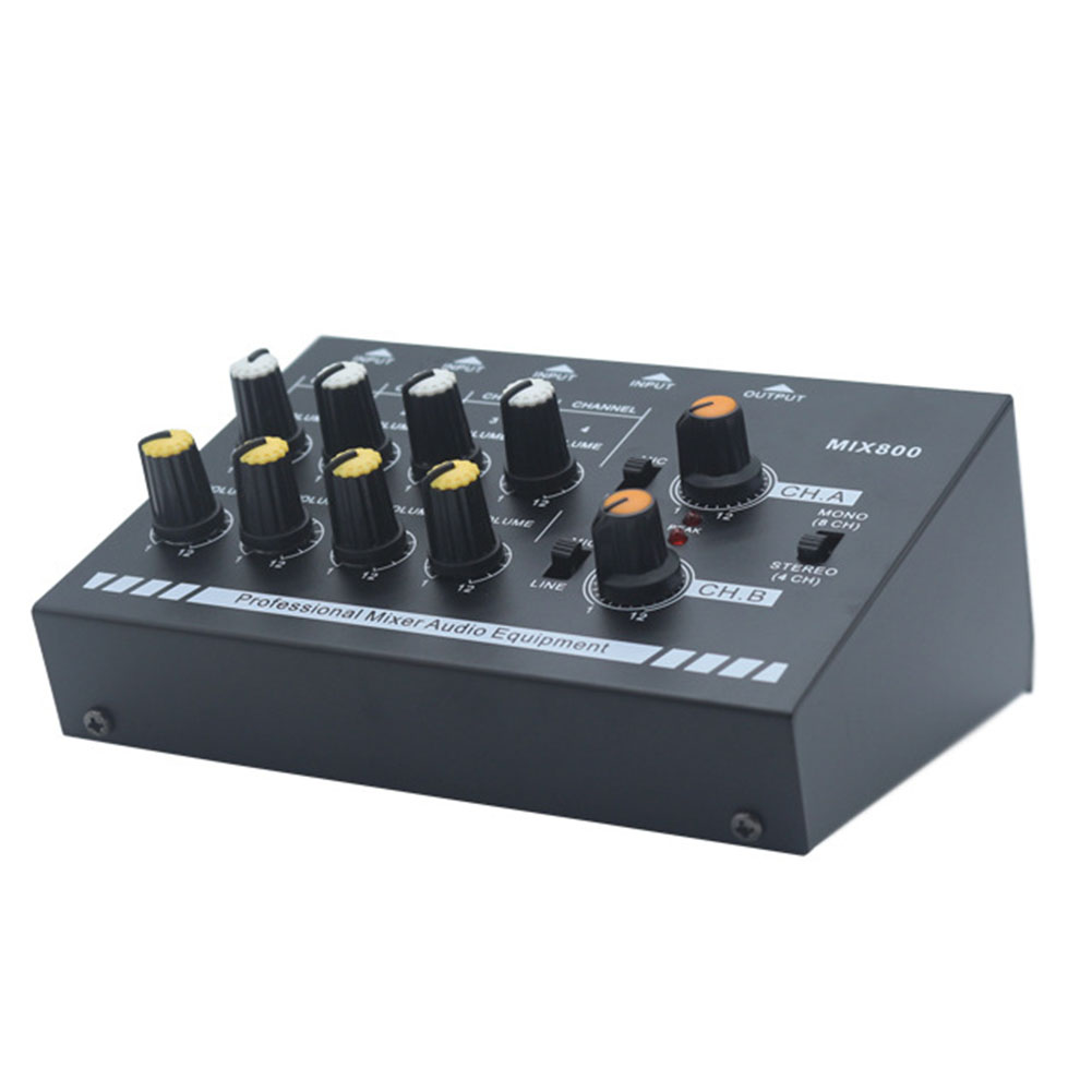 4-kanal Stereo 8-Kanal Mono Sound Mixer Audio Mixer Mit Eu Power Adapter Musik Zubehör