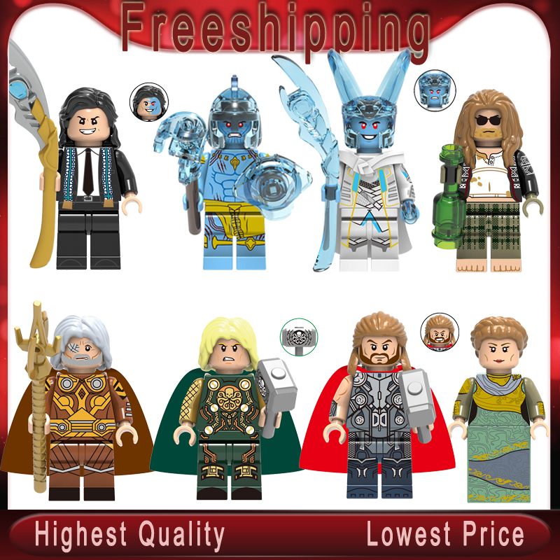Thor Loki Odin Frigga Marvel Avengers Asgard God Laufeyson Frost Giants Building Blocks Bricks Figure Toys Children Gift X0269