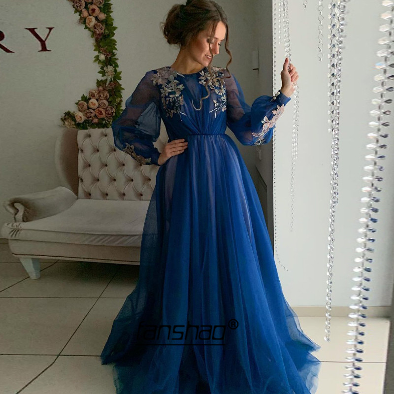 Illusion Evening Dresses Royal Blue Puff Sleeve Pleat Lace A-Line Tulle Plus Dubai Saudi Arabic Evening Gown Boho Prom Dress