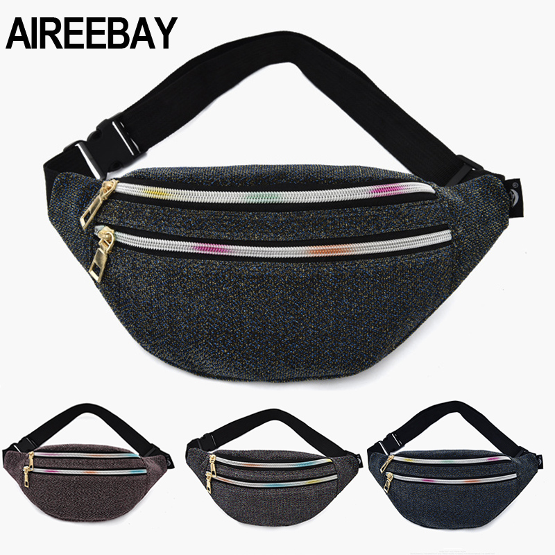 AIREEBAY Women Waist Bag New Brand Fashion Sequin Fanny Pack Casual Ladies Waist Pack Gold Yarn Fabric Phone Purse Money Belt