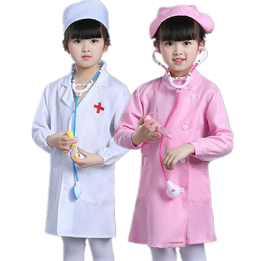 12 Style Kid Doctor Cosplay Children's Day Fashion  Medical Clothing Cap+gown+toy Set Toddler Halloween Nurse Toddler Uniform
