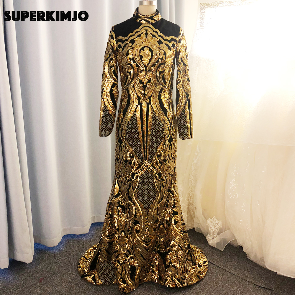 Real Picture Prom Dresses 2020 High Neck Lace Sequins Mermaid Long Sleeve Muslim Black Evening Dress Gold Formal Dresses Beaded