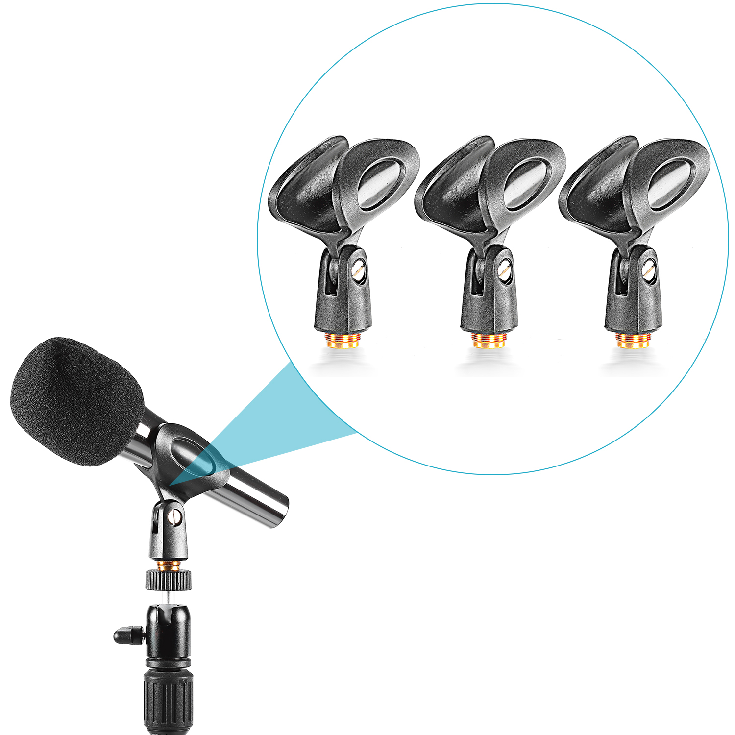 Neewer 3-Pack Black Universal Microphone Clip Holders with 5/8-Inch Male to 3/8-Inch Female Metal Nut Adapters for Handheld Mic - ANKUX Tech Co., Ltd