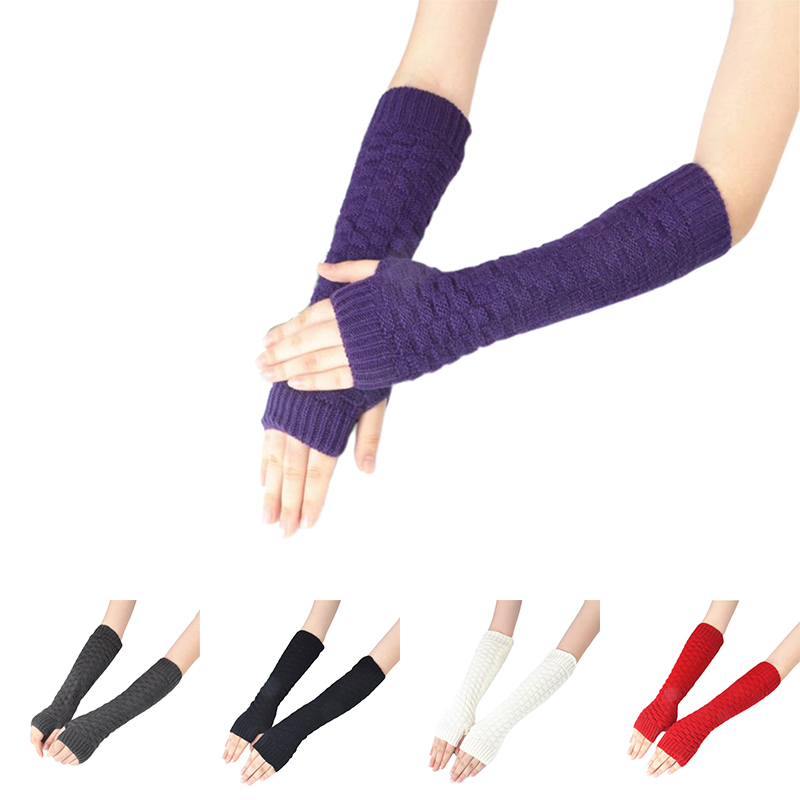 1 Pair Winter Red Women Girls Arm Gloves Long Half Knitted Arm Sleeves Riding Winter Mittens Sleeve