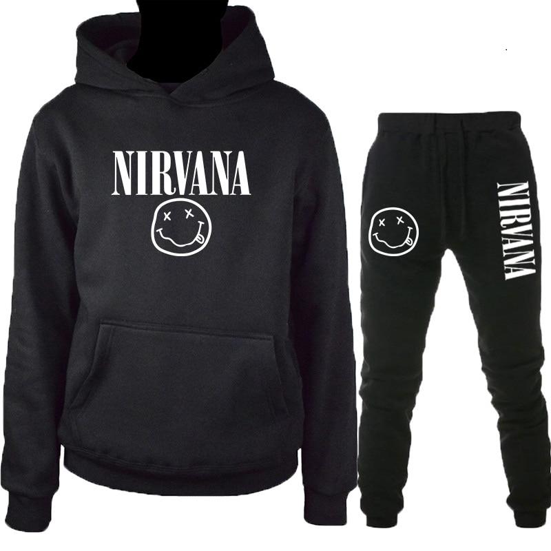 2019 Latest Autumn And Winter Nirvana Warm Hoodie Men/women Fashion Hip Hop Sweatshirt + Trousers 2 Piece Suit