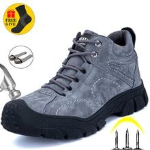 Echtem Leder Arbeit Stiefel Sicherheit Stahl Kappe Schuhe Männer Unzerstörbar Turnschuhe Männer Schuhe Wanderschuhe Warme Männer Stiefel Sicherheit Schuhe