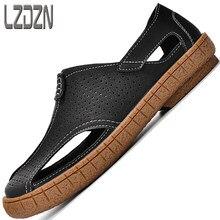 Oco sapatos masculinos de couro genuíno sandálias para homens flip flops verão meia chinelos tendência moda praia casual mocassins respirável