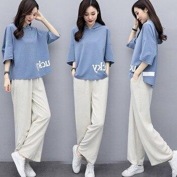 Pantalones de algodón de lino de pierna ancha traje de mujer letra 2020 primavera novedad de verano moda extranjera Casual suéter de lino de dos piezas Sets Z640