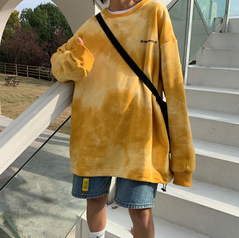 2020 Spring And Autumn New Youth Popular Couple Tie Dye Loose Sweatshirt Fashion Casual Round Neck Pullover Blue / Yellow S-XL