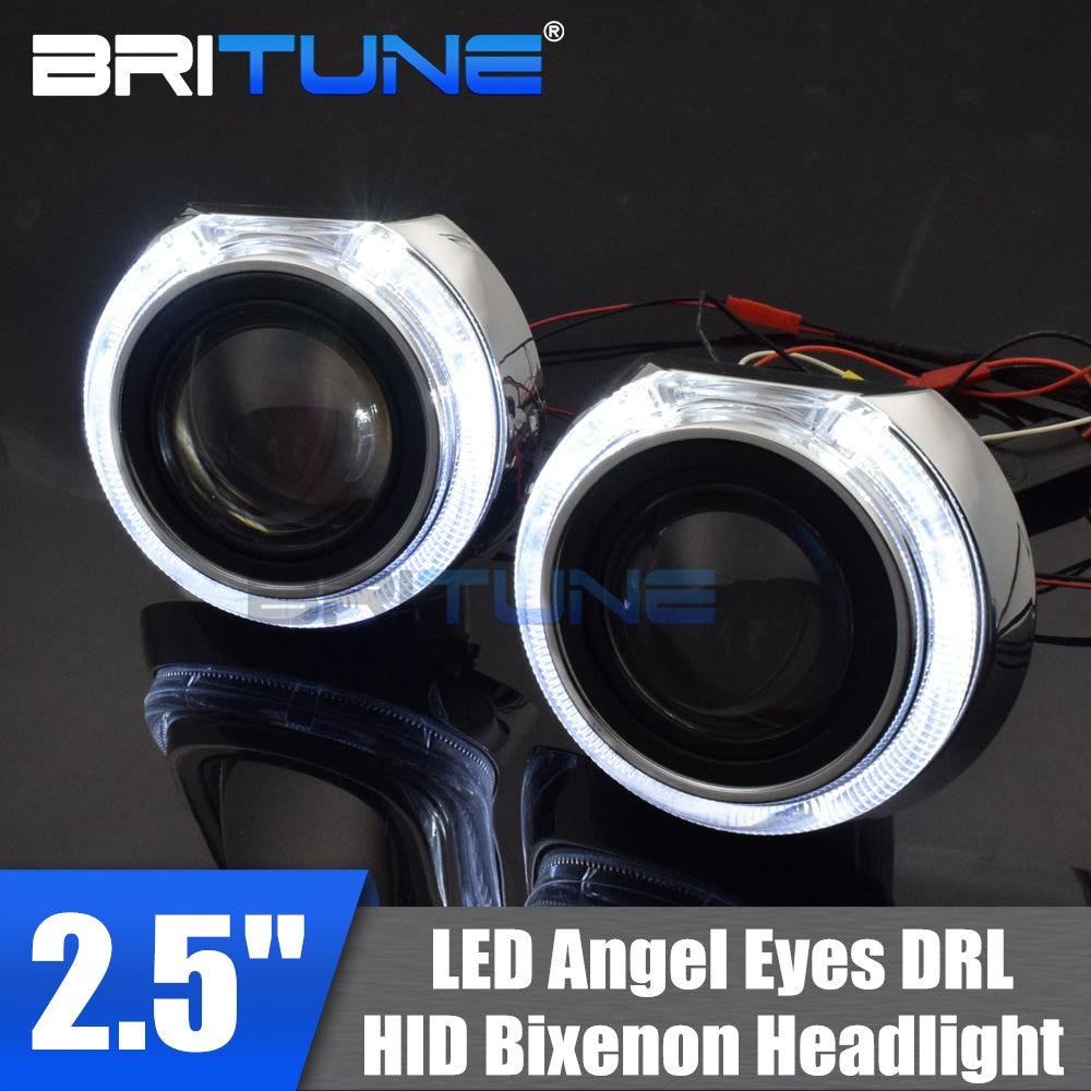 HID Bi-xenon Projector Lens Retrofit Kit W// LED Angel Halo Devil Eyes Headlight