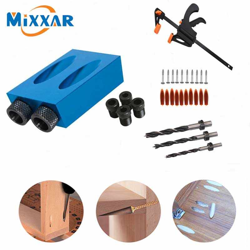 Blue 15 Degree Pocket Hole Jig Kit Woodworking Guide Screw Drill Angle Positioning Wood Plugs Oblique Locator 15Pcs Inclined Joinery Tools for Carpenter