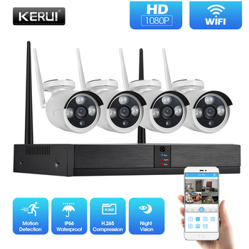 цена на KERUI Security Camera System H.265 1080P 2MP 4CH Wireless NVR Outdoor IR-CUT CCTV Video Surveillance Kit Home Security IP Camera