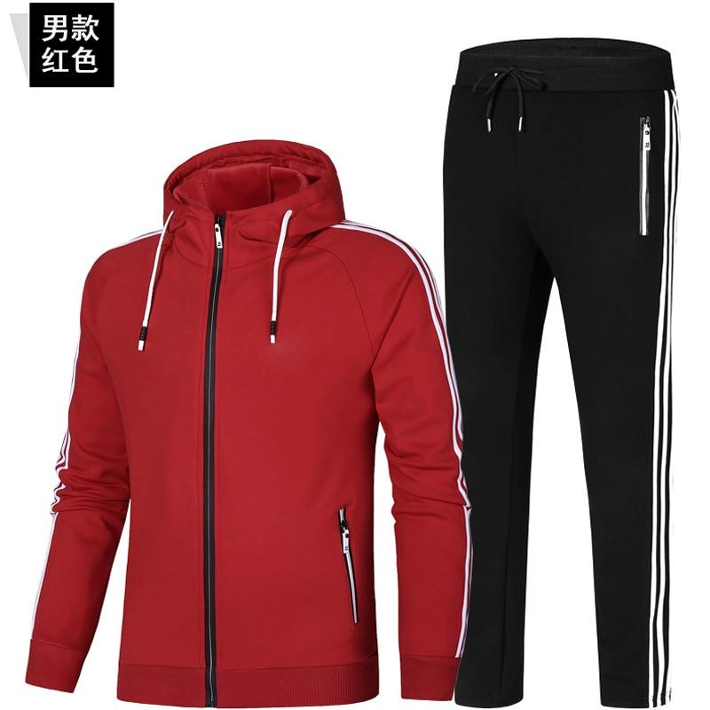 Men Sports Suit Three Bar Plus Velvet Pure Cotton Sports Clothing Cardigan Trousers Two-Piece Set Running Fitness Men'S Wear