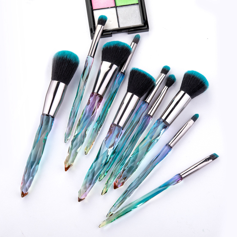 doxa 10Pcs Eye Brush Mini Diamond Makeup Brush Set Eye Shadow Lip Power Brushes High Quality Professional Lip Eyeliner Tools