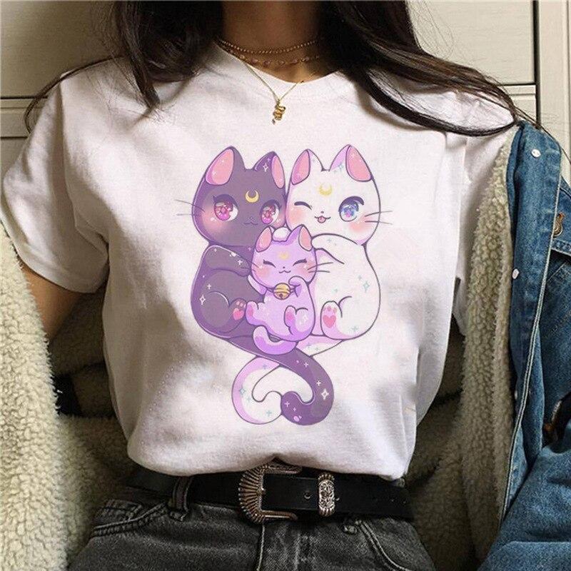 Harajuku Sailor Moon Tshirt Women Cartoon Cat Printing Fashion T Shirt Hip Hop Women Shirts Summer Top Streetwear Female Clothes