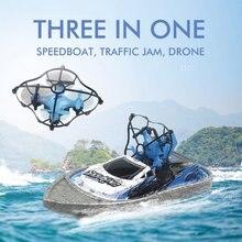 3 In 1 RC Drone Quadcopter/Kendaraan/Hovercraft Boat Drone 360 Derajat Flip Kemacetan Lalu Lintas Helikopter Drone air Balap Perahu Drone