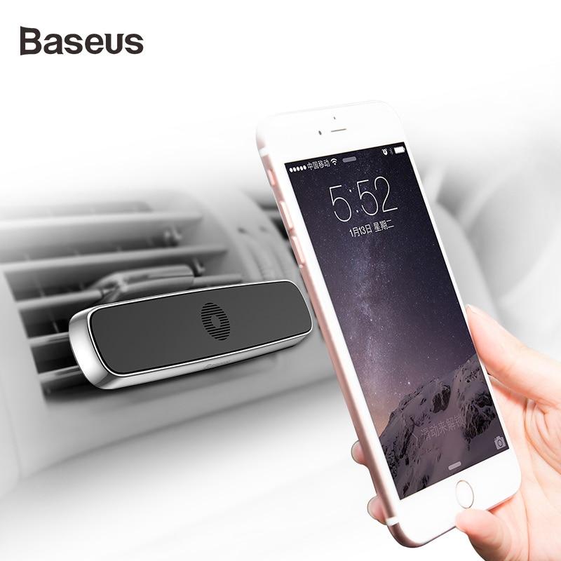 Soporte de teléfono de coche Baseus para iphone X 6 6S 7, soporte magnético de montaje en salida de aire de coche, soporte magnético para teléfono