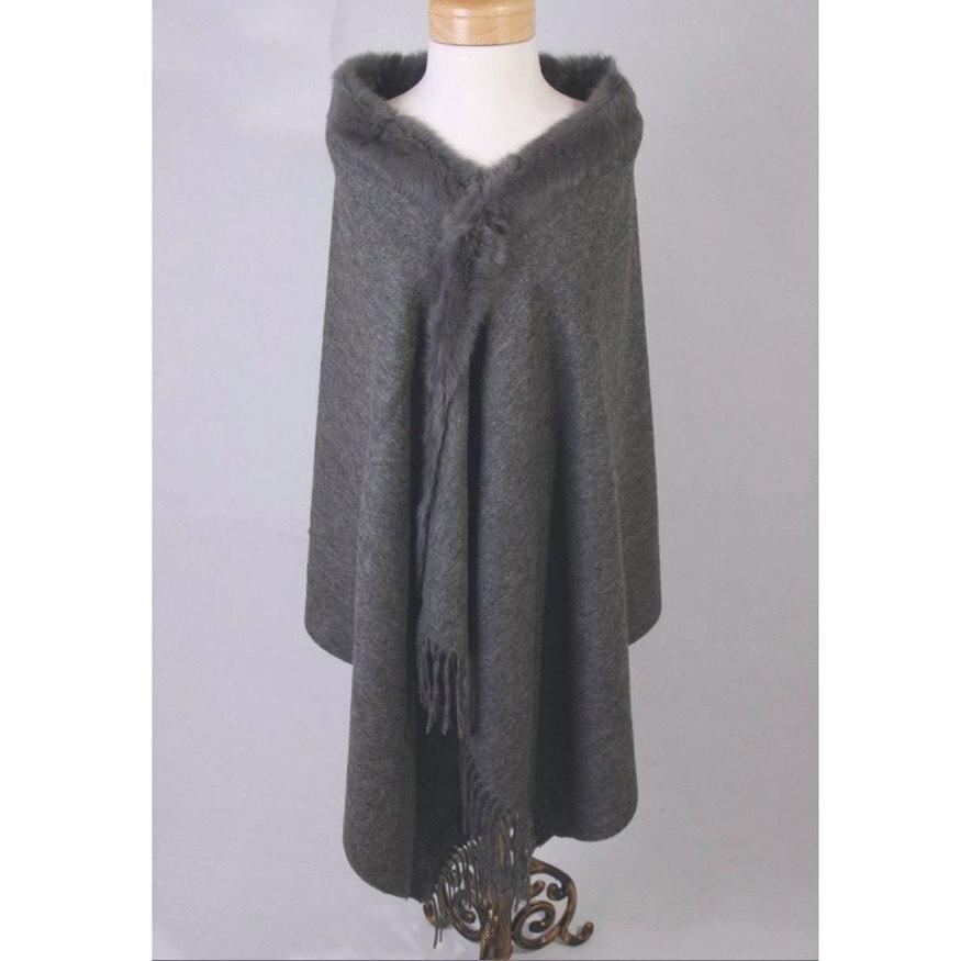 Offre spéciale gris femmes 100% laine Cape de haute qualité lapin fourrure cachemire étole couleur unie Poncho Wrap Oversize 180x70 cm 011610