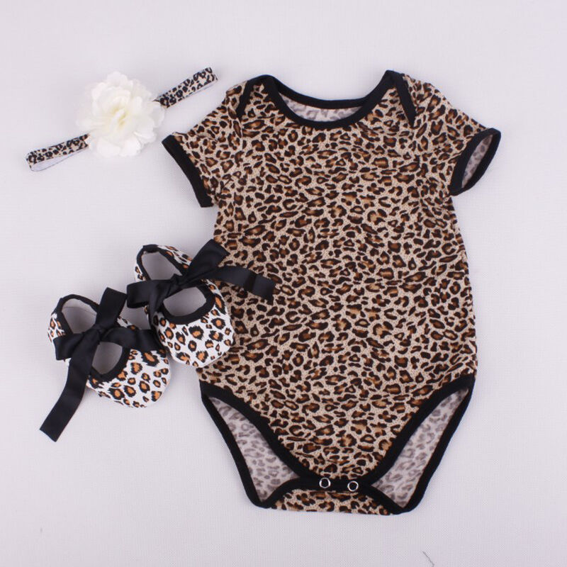 0-12M Pretty Flower Cute Shoes Bow Cotton Summer Tops Newborn Baby Girl Leopard Floral Printed Bodysuit+Shoes+Hairband 3Pcs Set