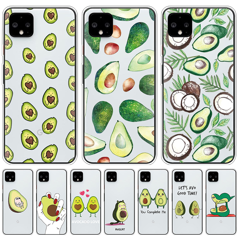 Funny Cartoon Avocado Fruit Print Phone Case For Google Pixel 4 XL Soft TPU Clear Fundas For Google Pixel 3A 3 2 XL Covers Coque