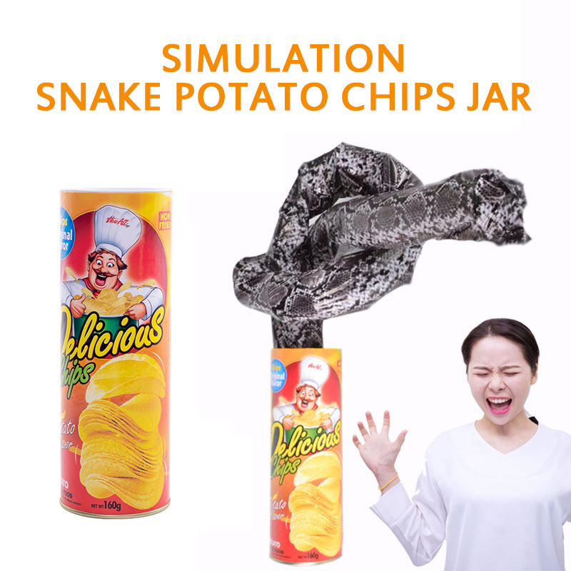 Novelty Toys Prank Bouncing Potato Chips Snake Stunt Scary French Fries Play Funny Toys Halloween Trick or Treat Funny Joke Toy