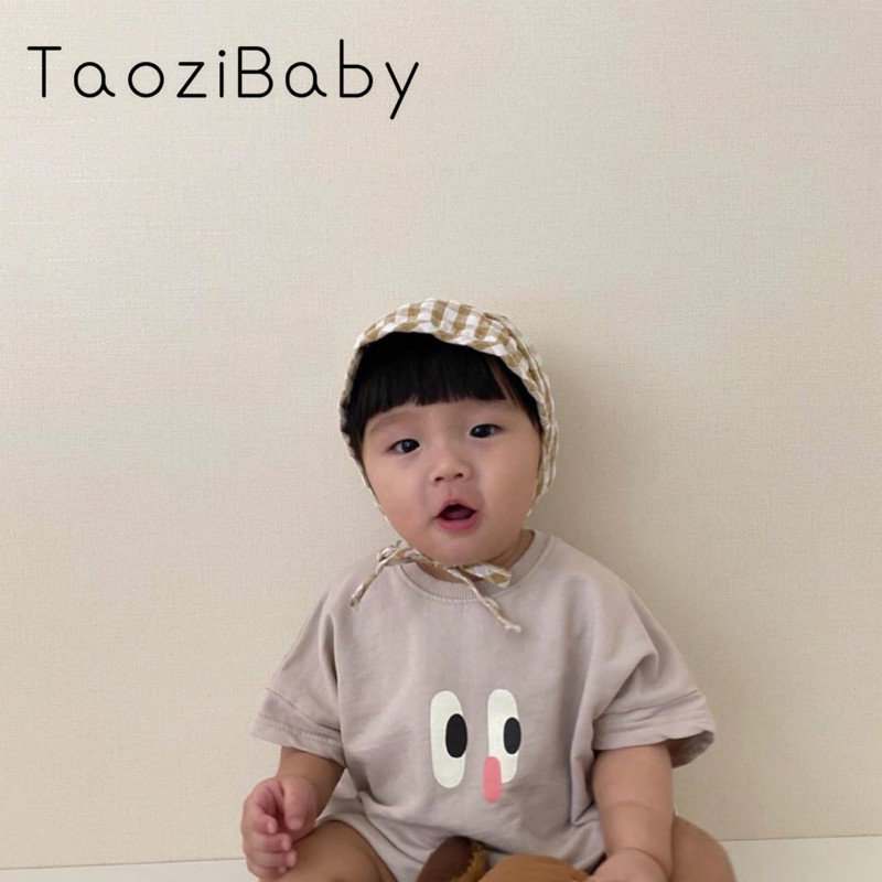 Children's Bodysuit 2020 New Kids Clothes Summer South Korea Eyes Short Sleeve Triangle Bodysuit Onesie Baby