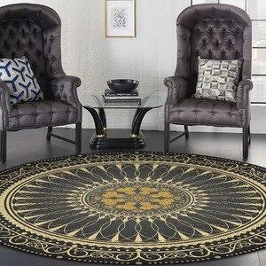 Image 2 - Black gold color American retro carpet Bohemian national style round floor mat plush non slip living room door mat bedroom rug