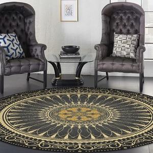 Image 2 - Czarny złoty kolor amerykańska retro dywan czeski styl narodowy okrągła mata podłogowa pluszowe antypoślizgowe mata do drzwi do salonu sypialnia dywan