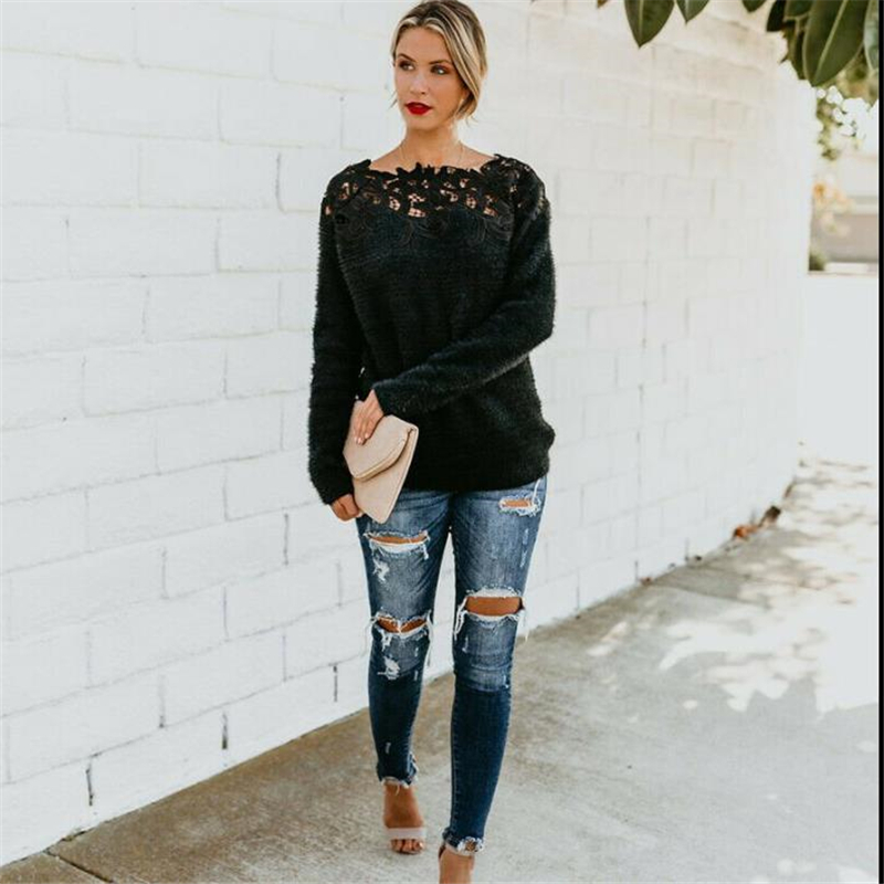 Fashion Casual Solid Womens Autumn Winter Warm Long Sleeve Slash Neck Fluffy Sweater Tops Ladies Lace Jumper Pullover Blouse