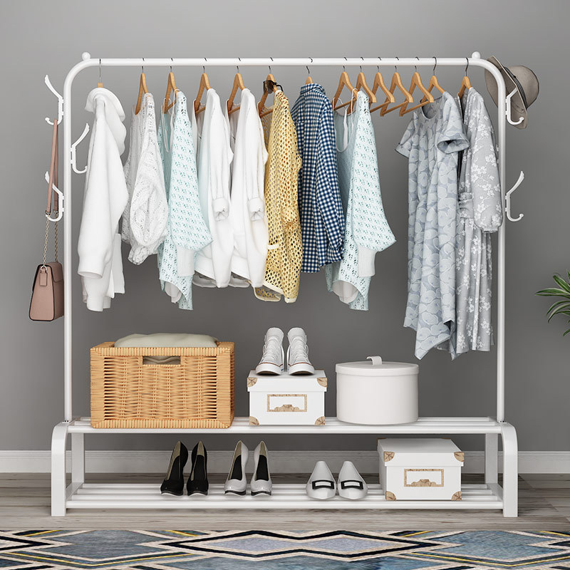 150cm Metal Coat Rack Indoor Simple Hanger Windproof Clothing Shelf Multifunction Floored Coat Stand Bedroom Clothes Hangers