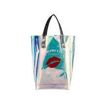 Personality Red Lips Colorful Laser Transparent Female Shoulder Bag Three-Dimensional Large Capacity Travel Casual Handbag
