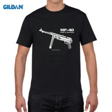 2020 Warna Tinggi Kualitas Pria Street Wear Short Sleeve Tee Shirt MP 40 Maschinen Pistol Jerman Wehrmacht(China)